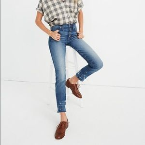 Madewell Distress Button Front Slim Straight Jean